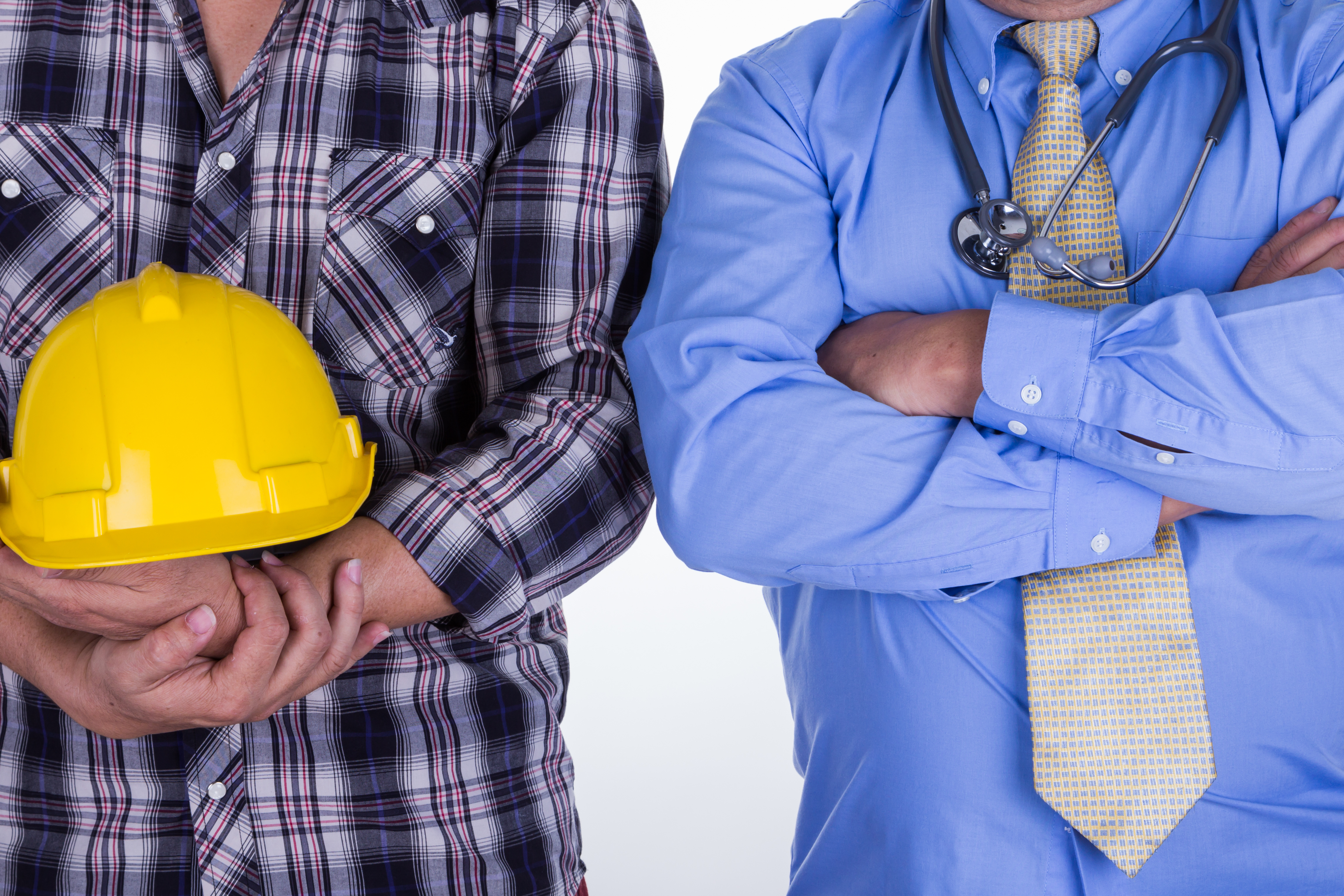 construction worker and doctor