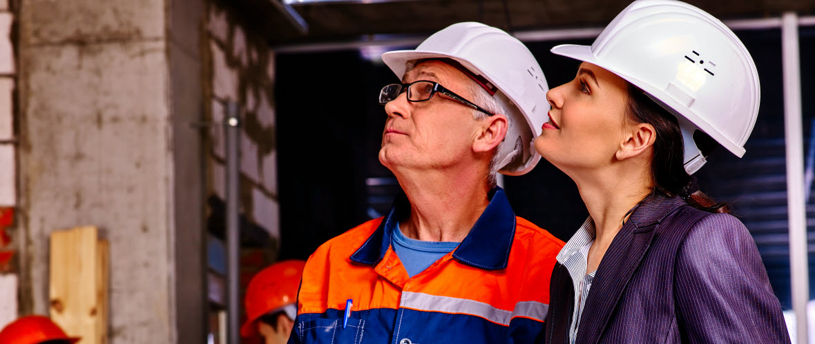 two workers in hard hats